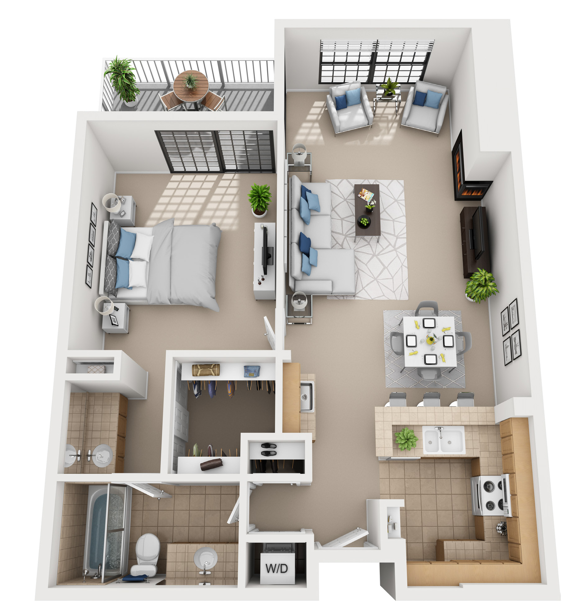 1 bedroom floor plan at 555 Barrington