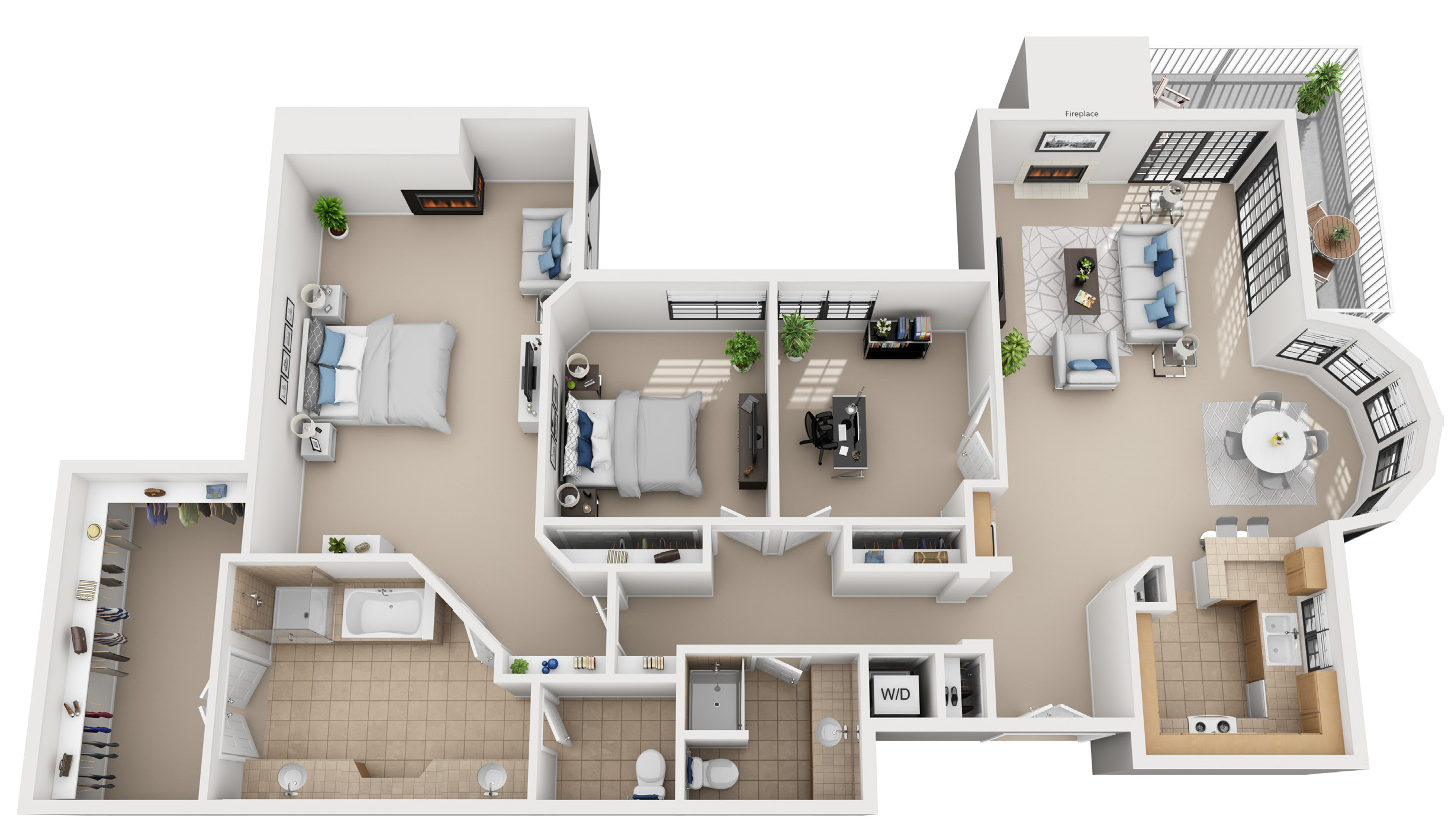 3 bedroom floor plan at 555 Barrington - Brentwood Luxury Apartments