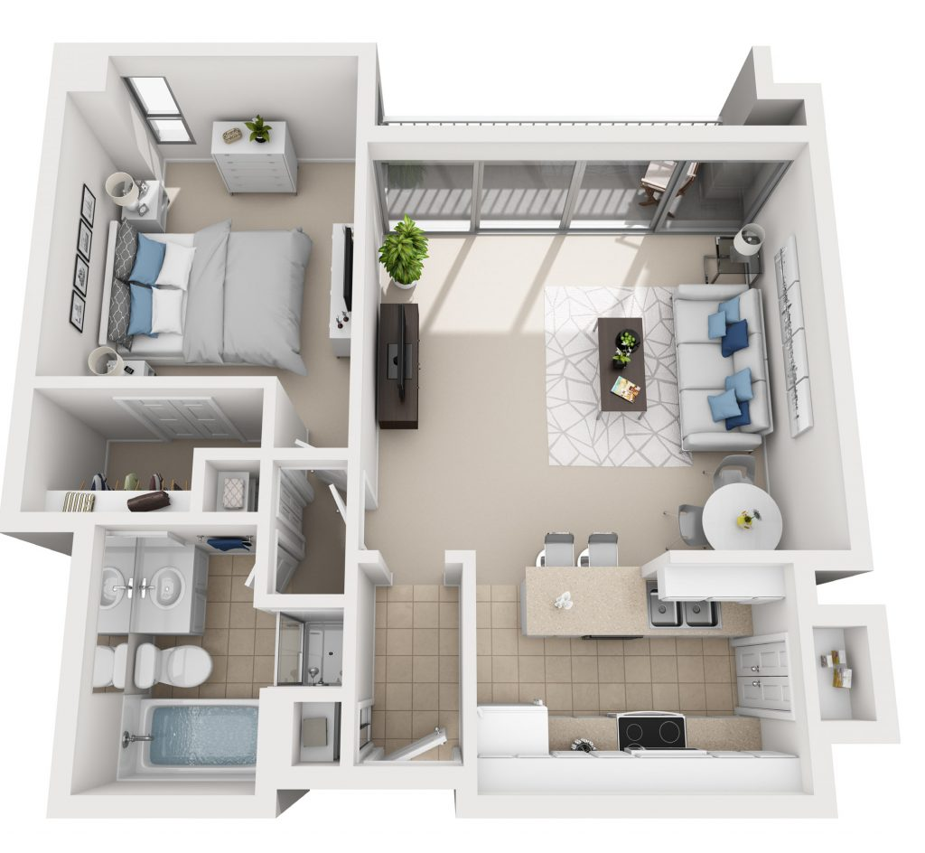 Model 1A - One Bedroom apartment floor plan at The Shores