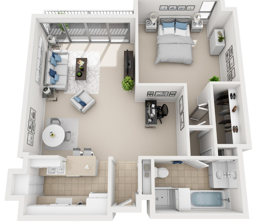 Model 1C - One Bedroom apartment floor plan at The Shores