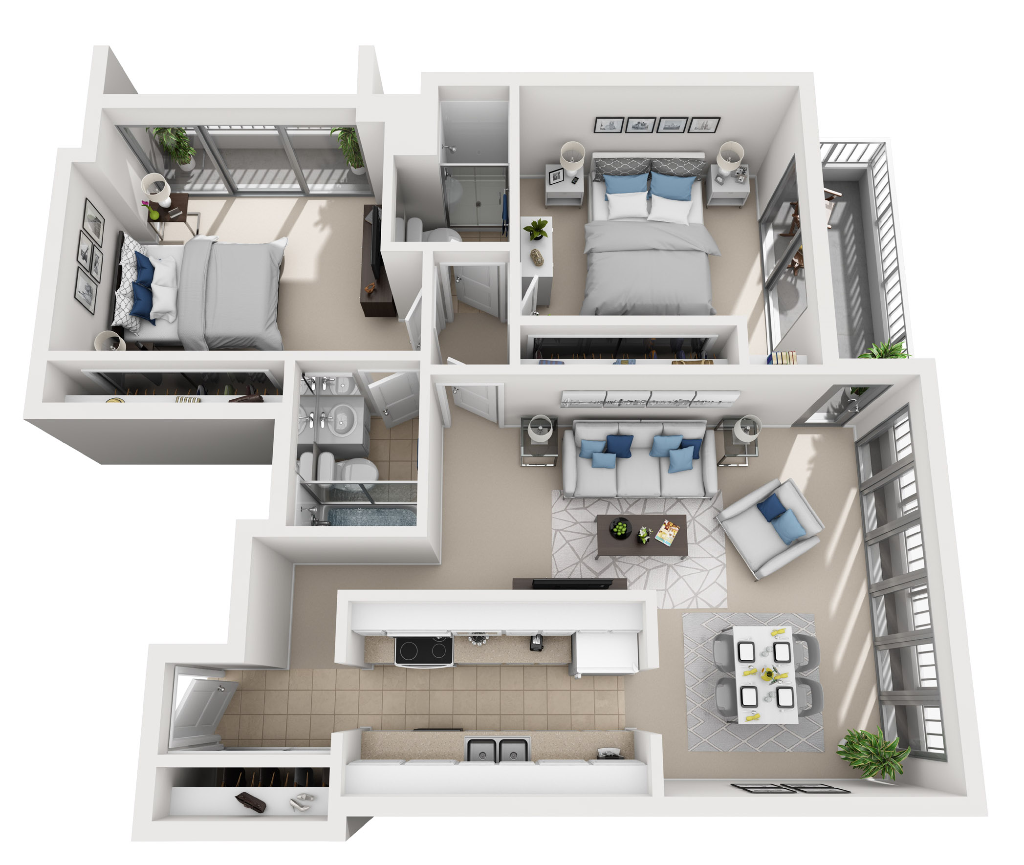Model B - Two bedroom apartment floor plan at The Shores