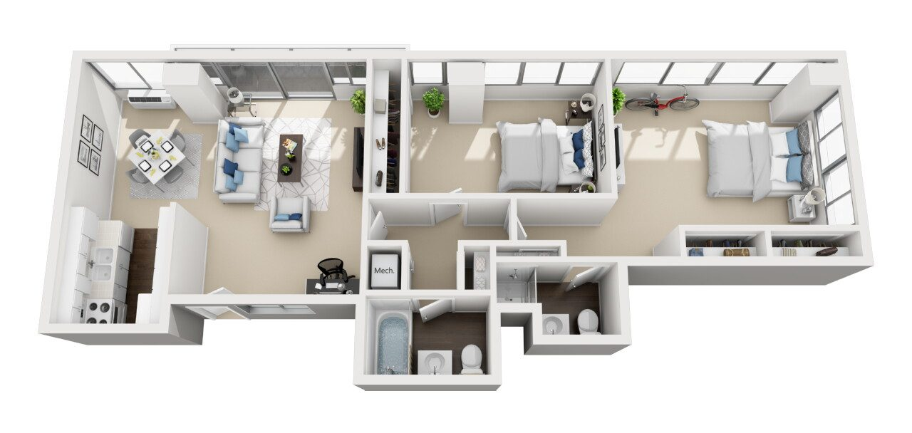 Barrington Plaza Model Two Bedroom Floor Plan A1