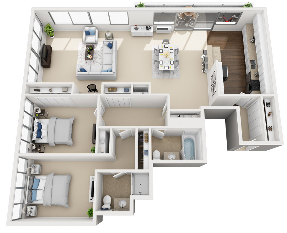 Barrington Plaza Model Two Bedroom Floor Plan A2