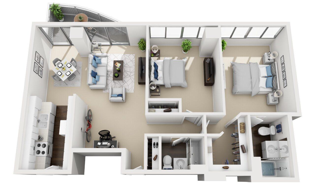 Barrington Plaza Model Two Bedroom Floor Plan A3