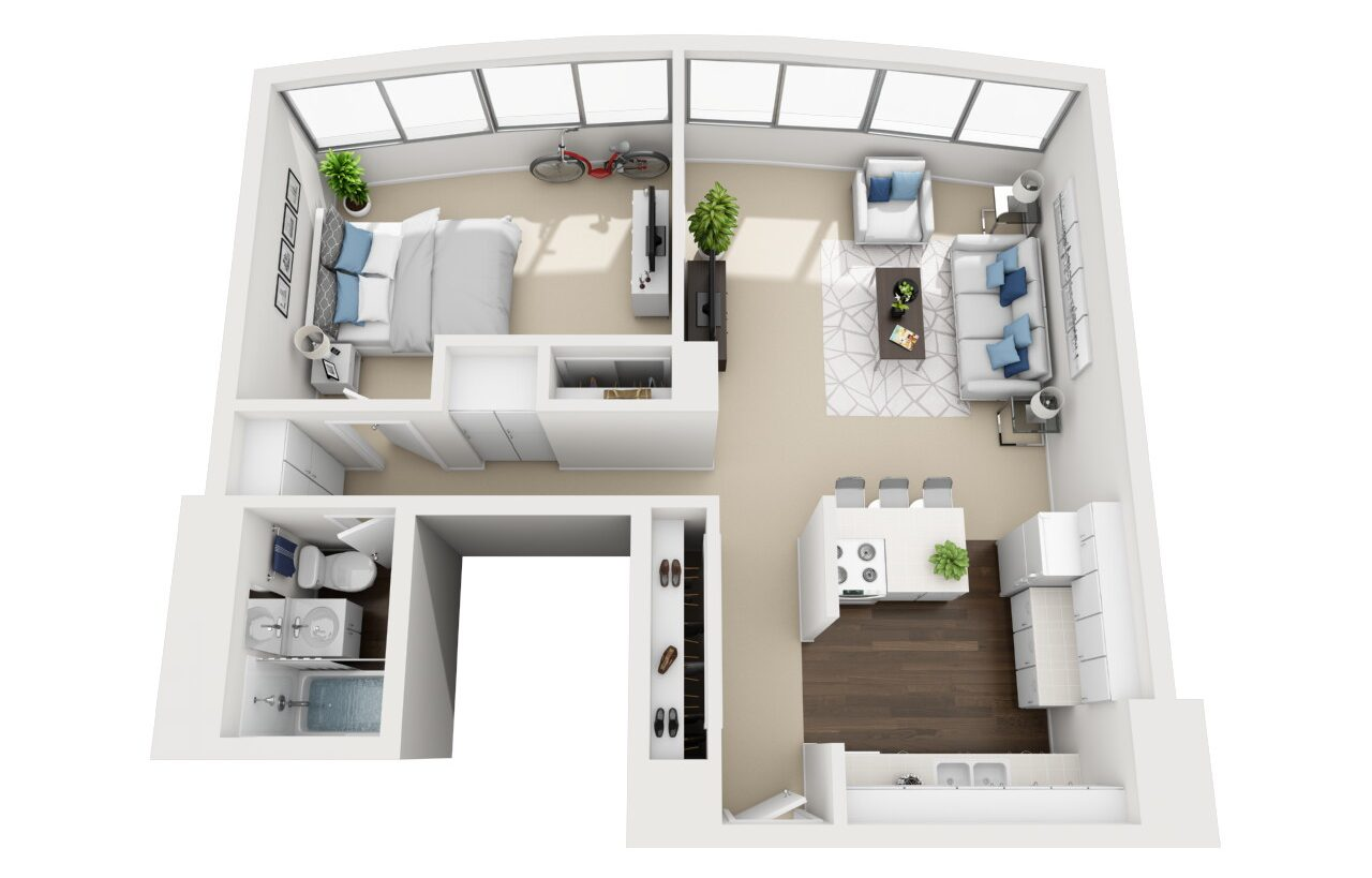 Barrington Plaza Model One Bedroom Floor Plan A5