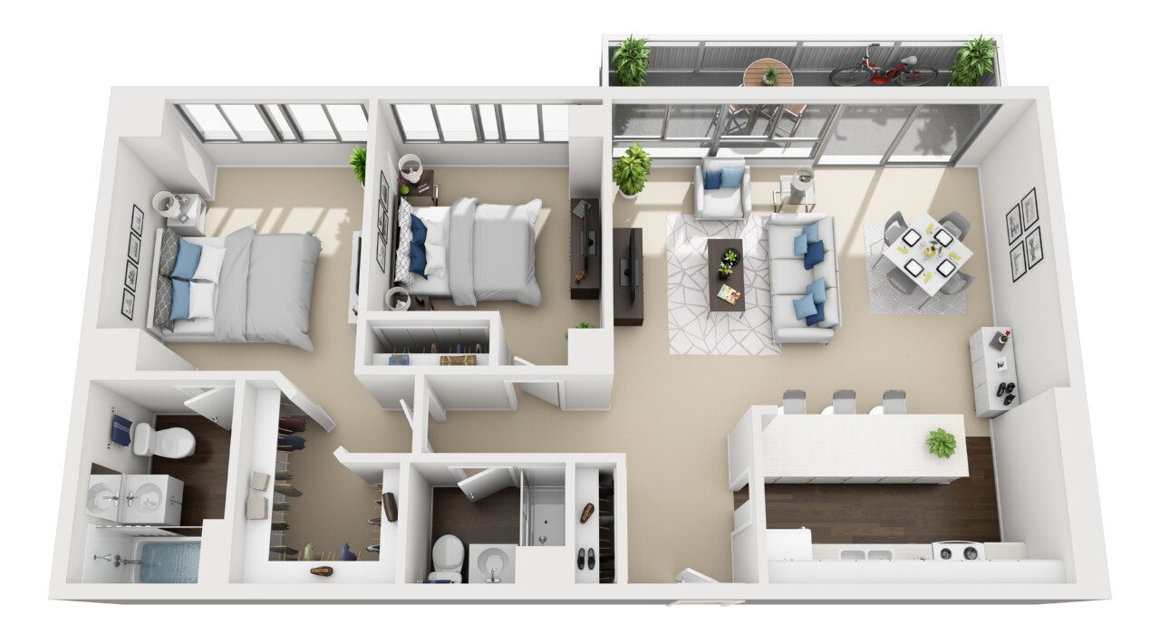 Barrington Plaza Model Two Bedroom Floor Plan A8
