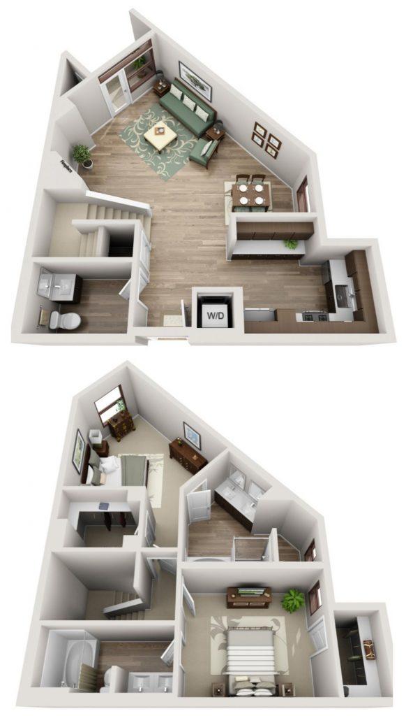 The Glendon town house floor plan 3 br / 3 bath