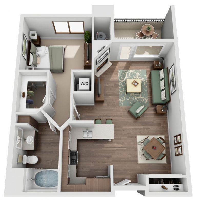 The Glendon Model B - one bedroom one bath