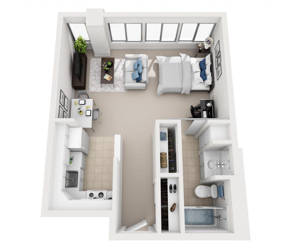 Model B Studio apartment floor plan at Pacific Plaza