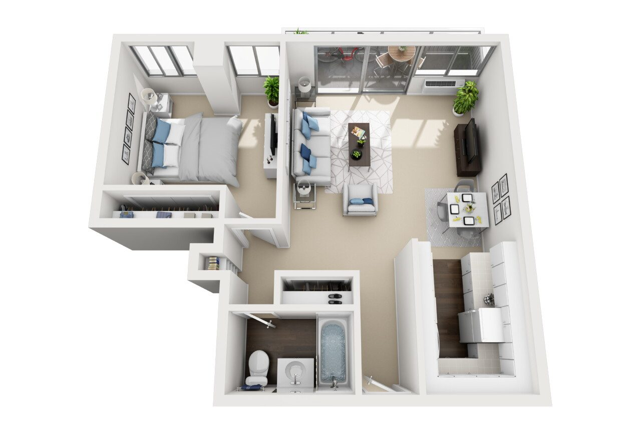 Barrington Plaza Model One Bedroom Floor Plan BC13