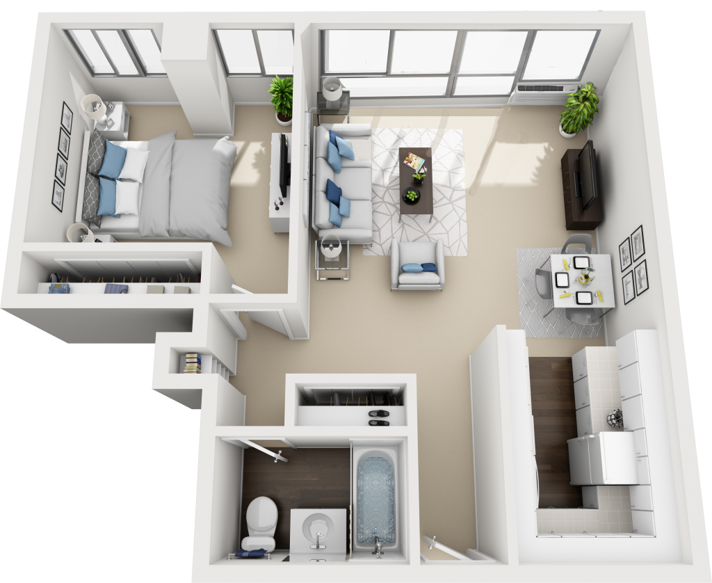 Barrington Plaza Model One Bedroom Floor Plan BC14