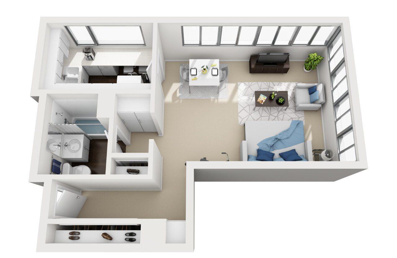 Barrington Plaza Model Studio Floor Plan BC16