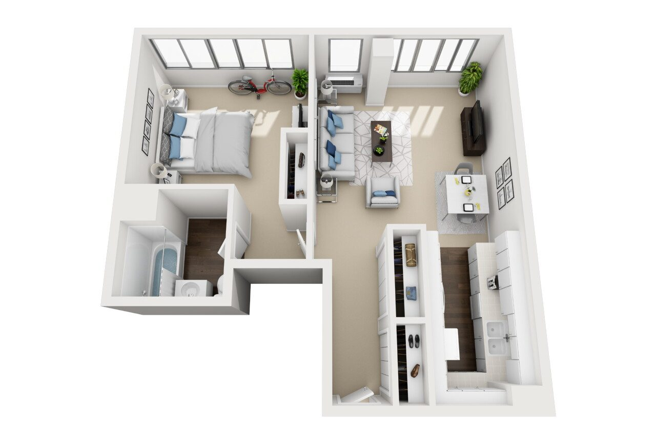 Barrington Plaza Model One Bedroom Floor Plan BC6
