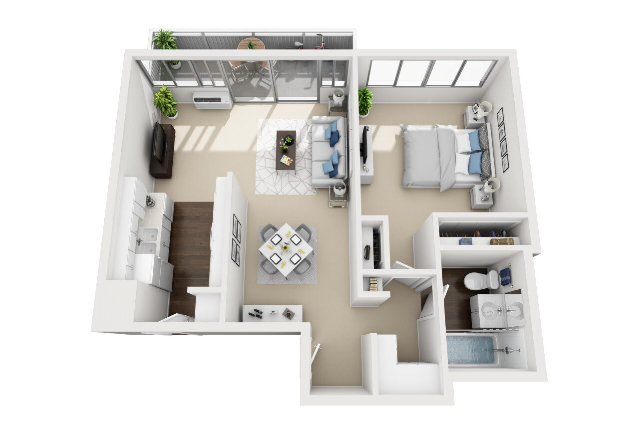 Barrington Plaza Model One Bedroom Floor Plan BC7