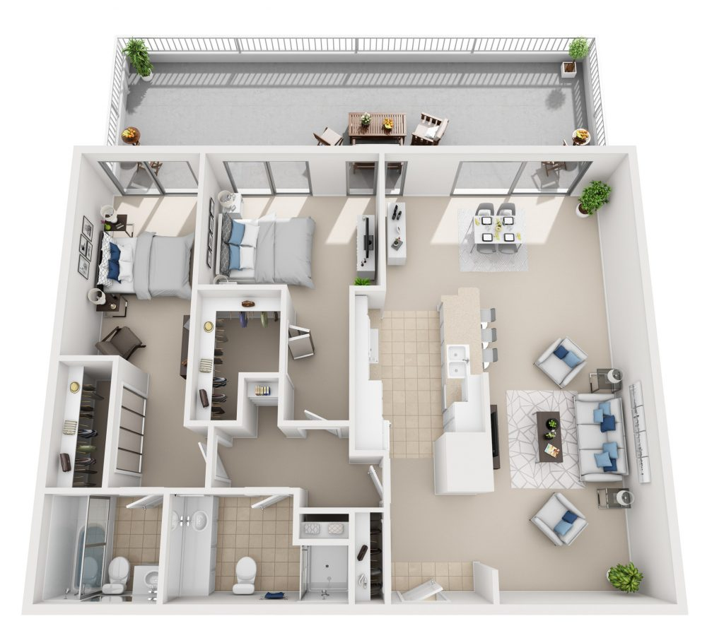 Model C - Two bedroom apartment floor plan at The Shores