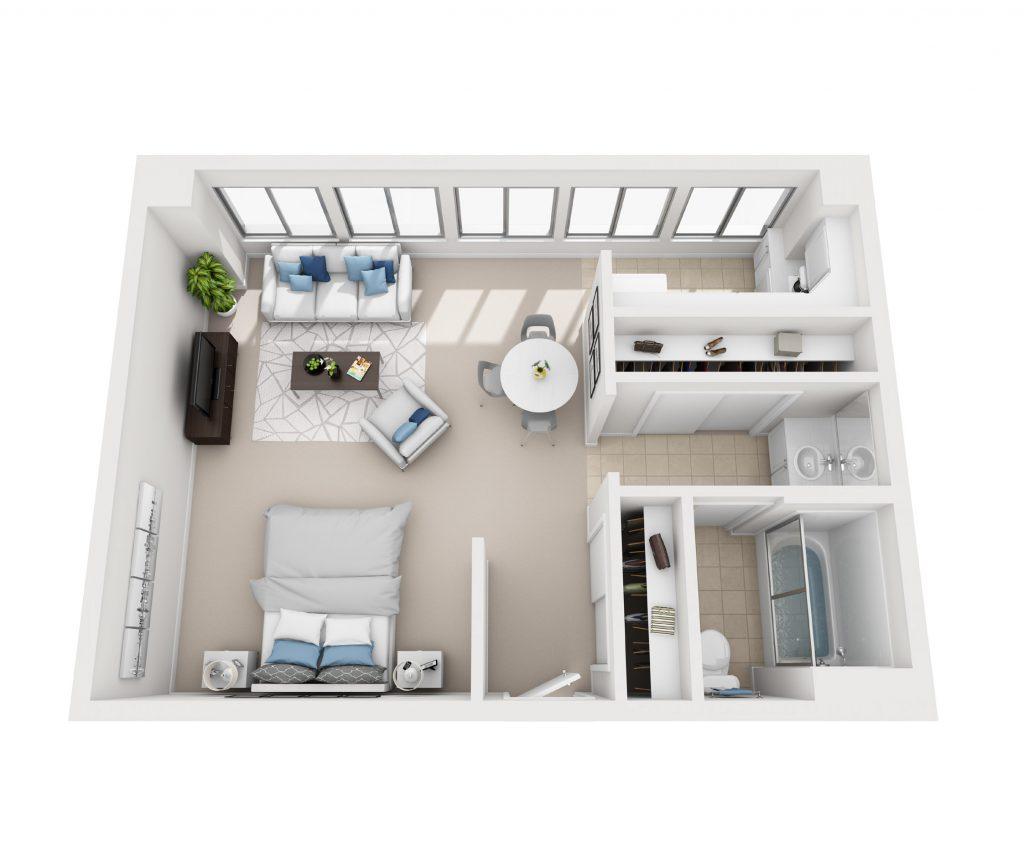 Studio apartment floor plan at Pacific Plaza
