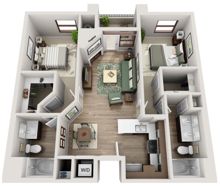 The Glendon 2 bedroom 2 bathroom floor plan