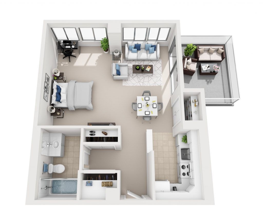 Model D Studio apartment floor plan at Pacific Plaza