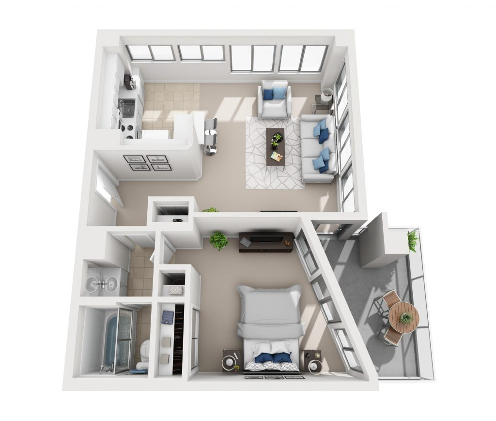 Model E - One bedroom apartment floor plan at Pacific Plaza
