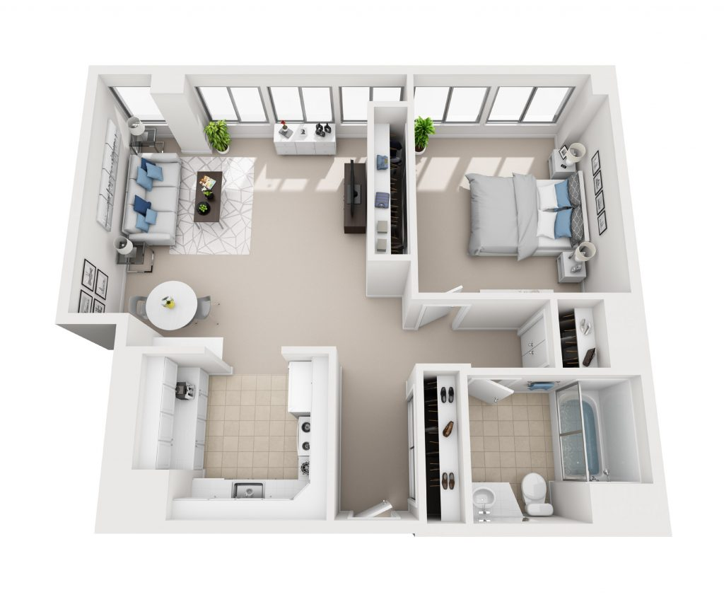Model F - One bedroom apartment floor plan at Pacific Plaza