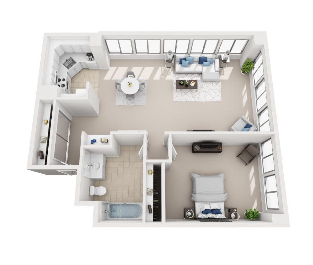 Model G - One bedroom apartment floor plan at Pacific Plaza