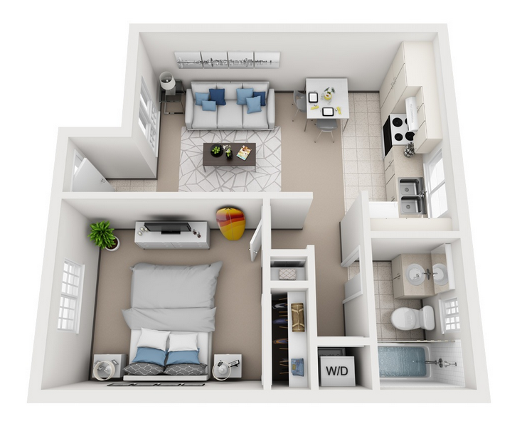 Model A - 1 Bedroom apartment floor plan at Villas at Royal Kunia