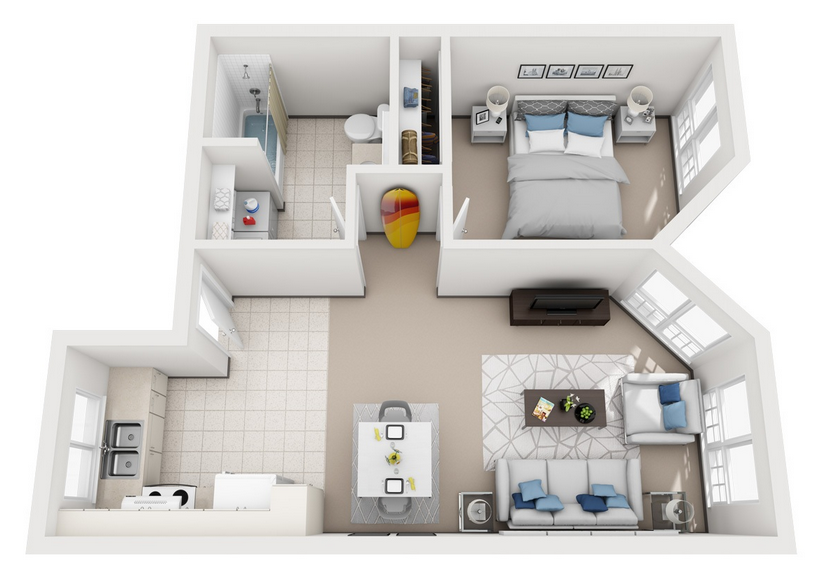 Model B - 1 Bedroom apartment floor plan at Villas at Royal Kunia