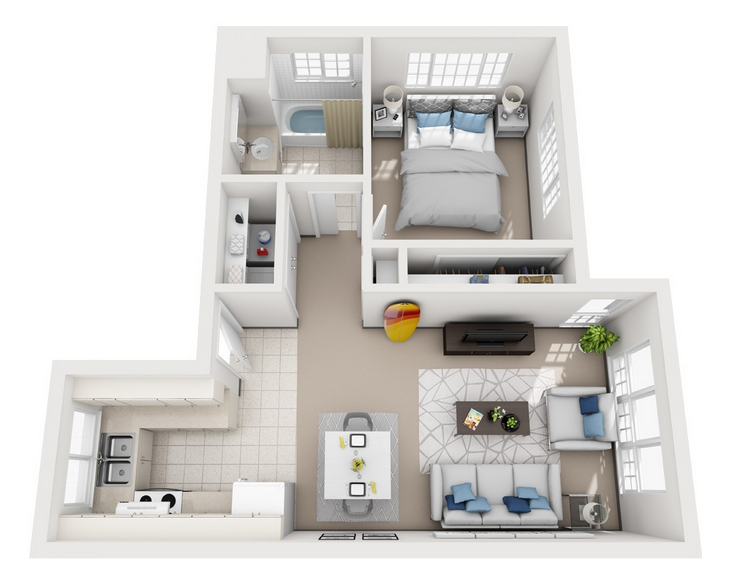 Model C - 1 Bedroom apartment floor plan at Villas at Royal Kunia
