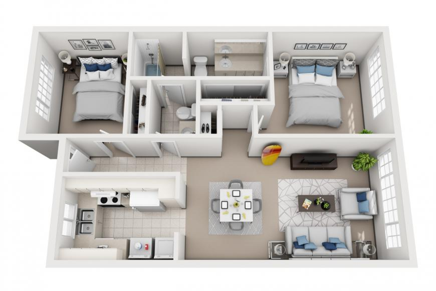 Model E -  bedroom apartment floor plan at Villas at Royal Kunia