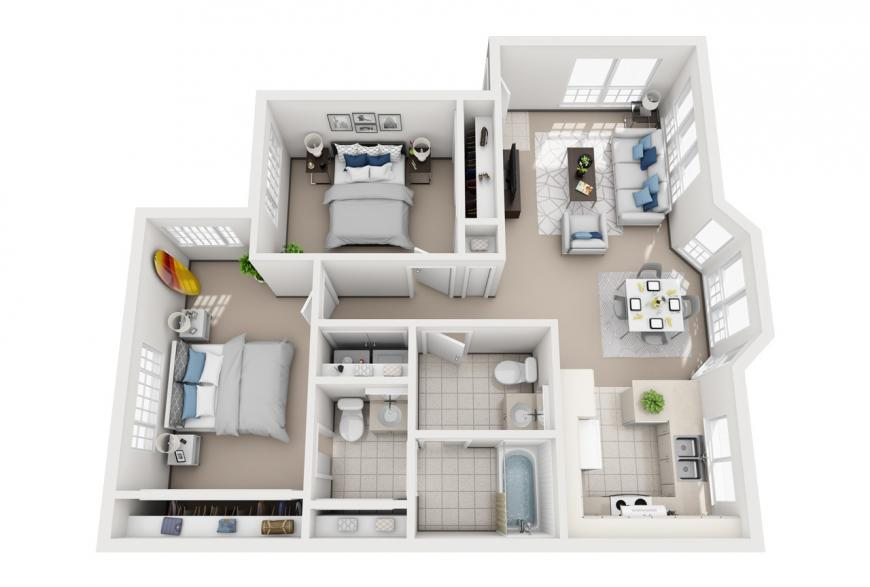 Model H - 2 bedroom apartment floor plan at Villas at Royal Kunia
