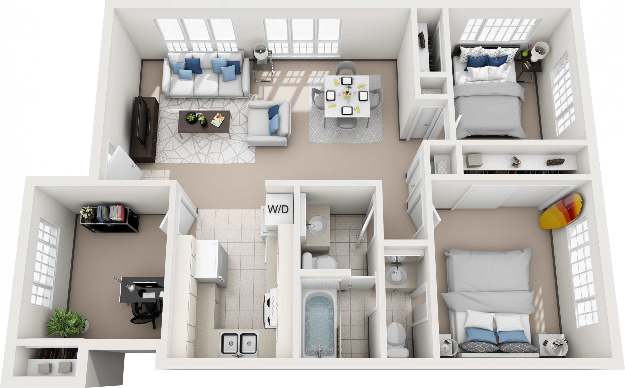 Model I - 3 bedroom apartment floor plan at Villas at Royal Kunia