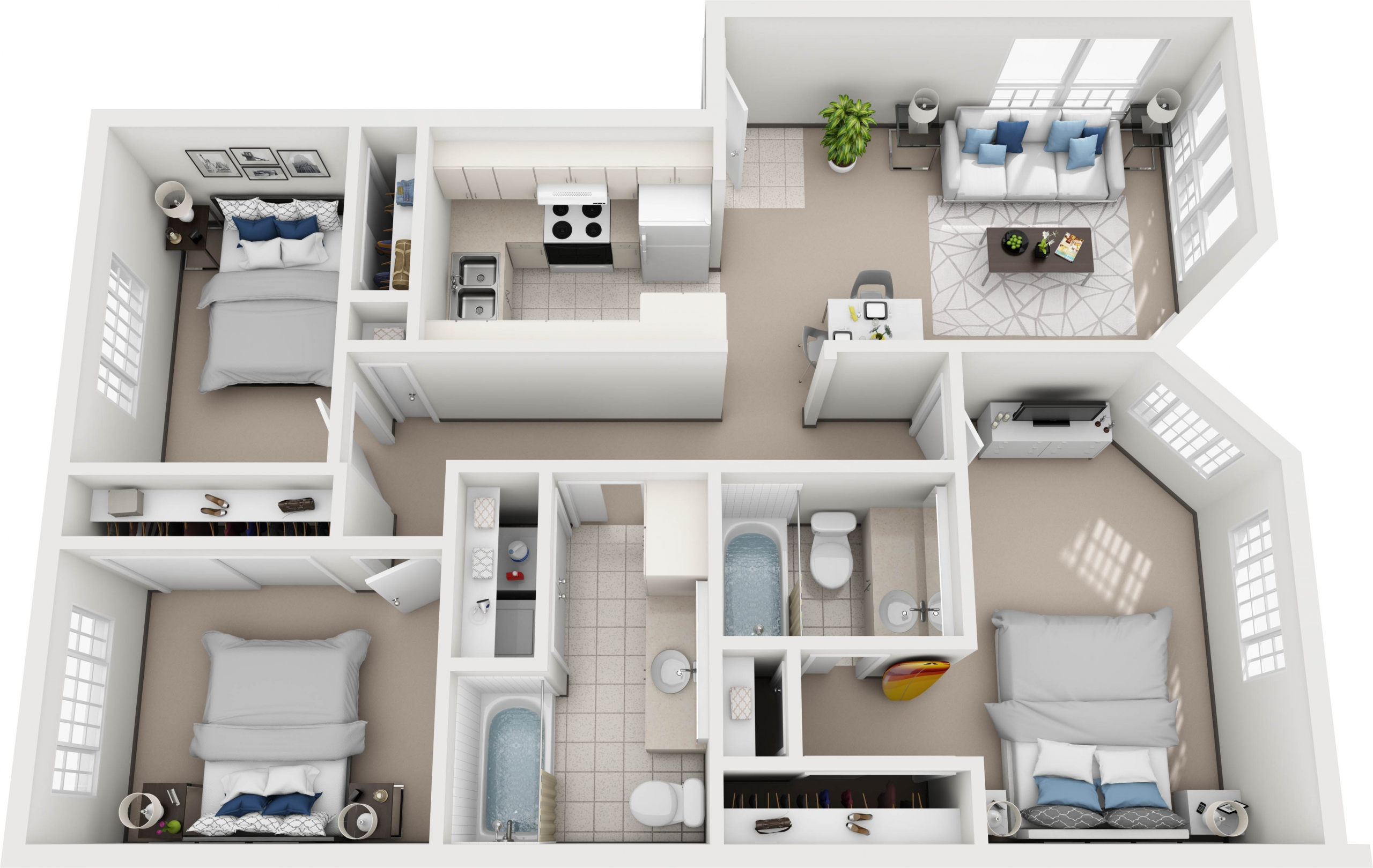 Model J - 3 bedroom apartment floor plan at Villas at Royal Kunia