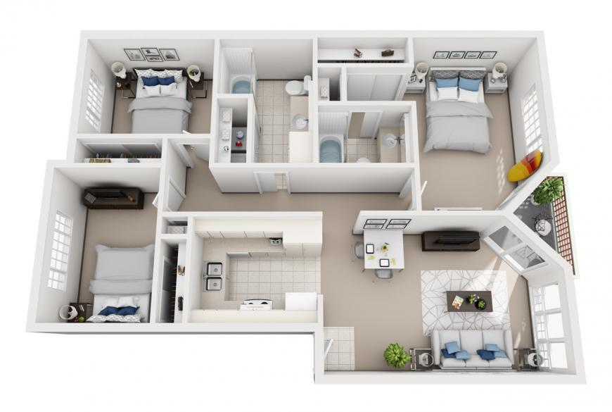 Model K - 3 bedroom apartment floor plan at Villas at Royal Kunia