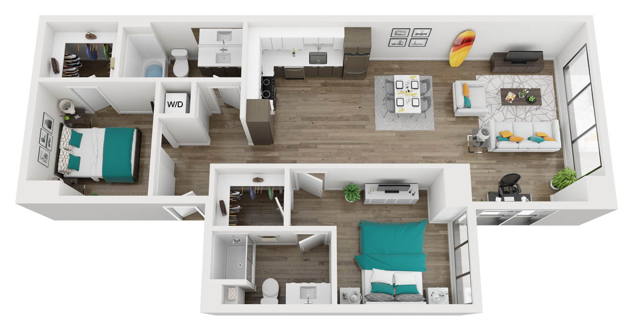 2 bedroom / 2 bath apartment
