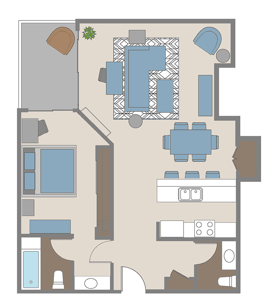 One bedroom  / 1.5 bathroom apartment floor plan in Brentwood