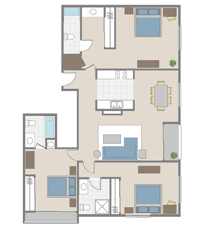 Three Bedrooms / Three Baths apartment floor plan