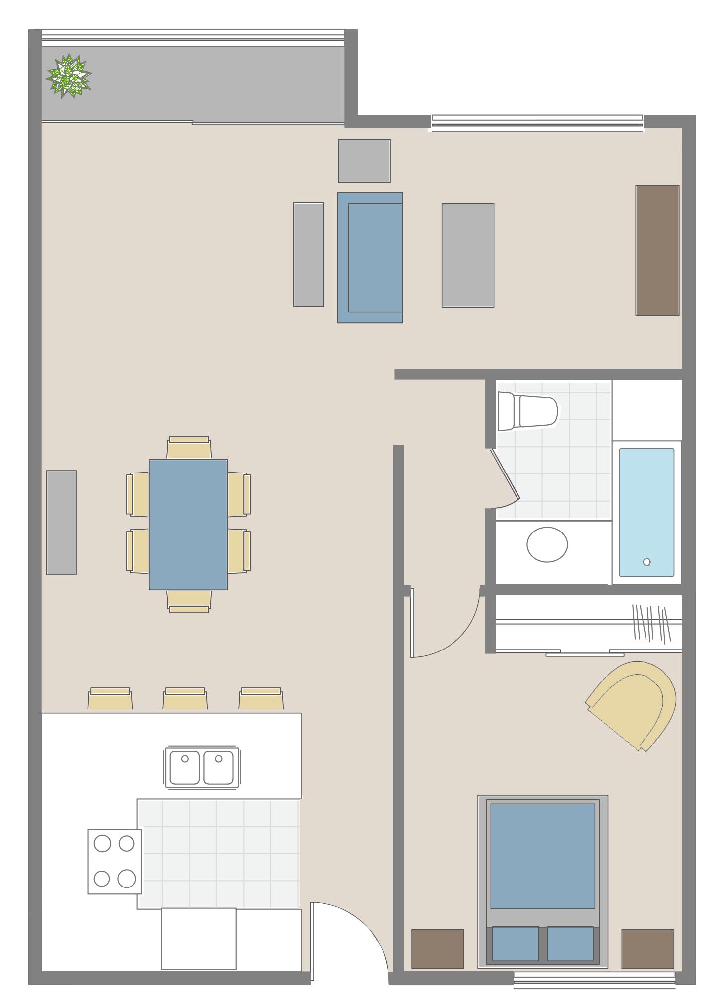One bedroom + den floor plan