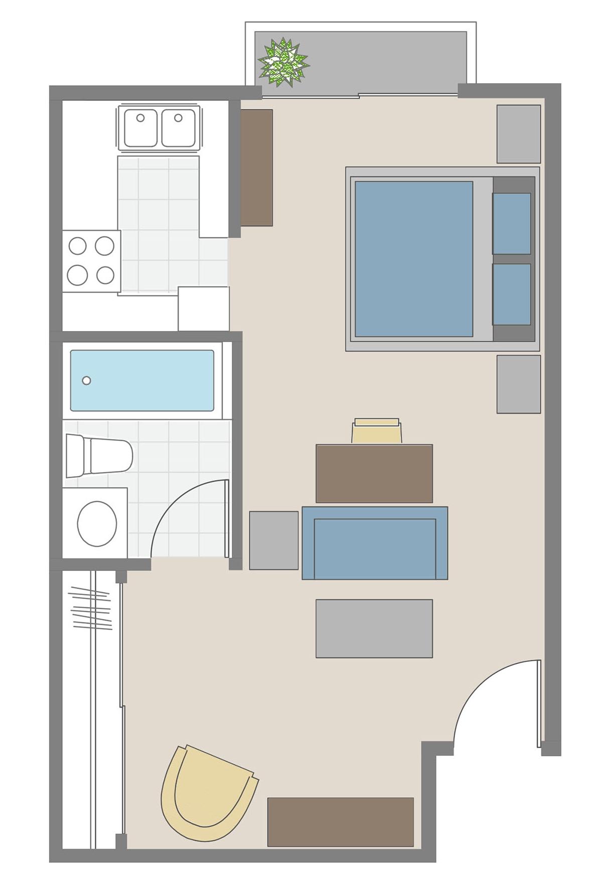 Studio Apartment floor plan