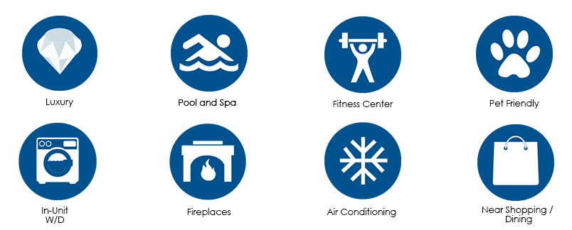 Icons show pool, fitness and other amenities at 555 Barrington apartments