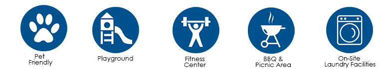 Icons show fitness and other amenities at Waena apartments