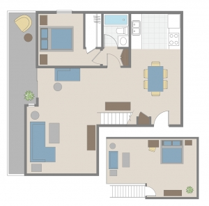 One bedroom + loft apartment floor plan