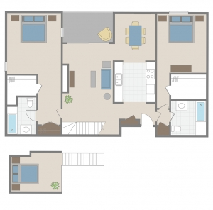 two bedroom + loft apartment floor plan