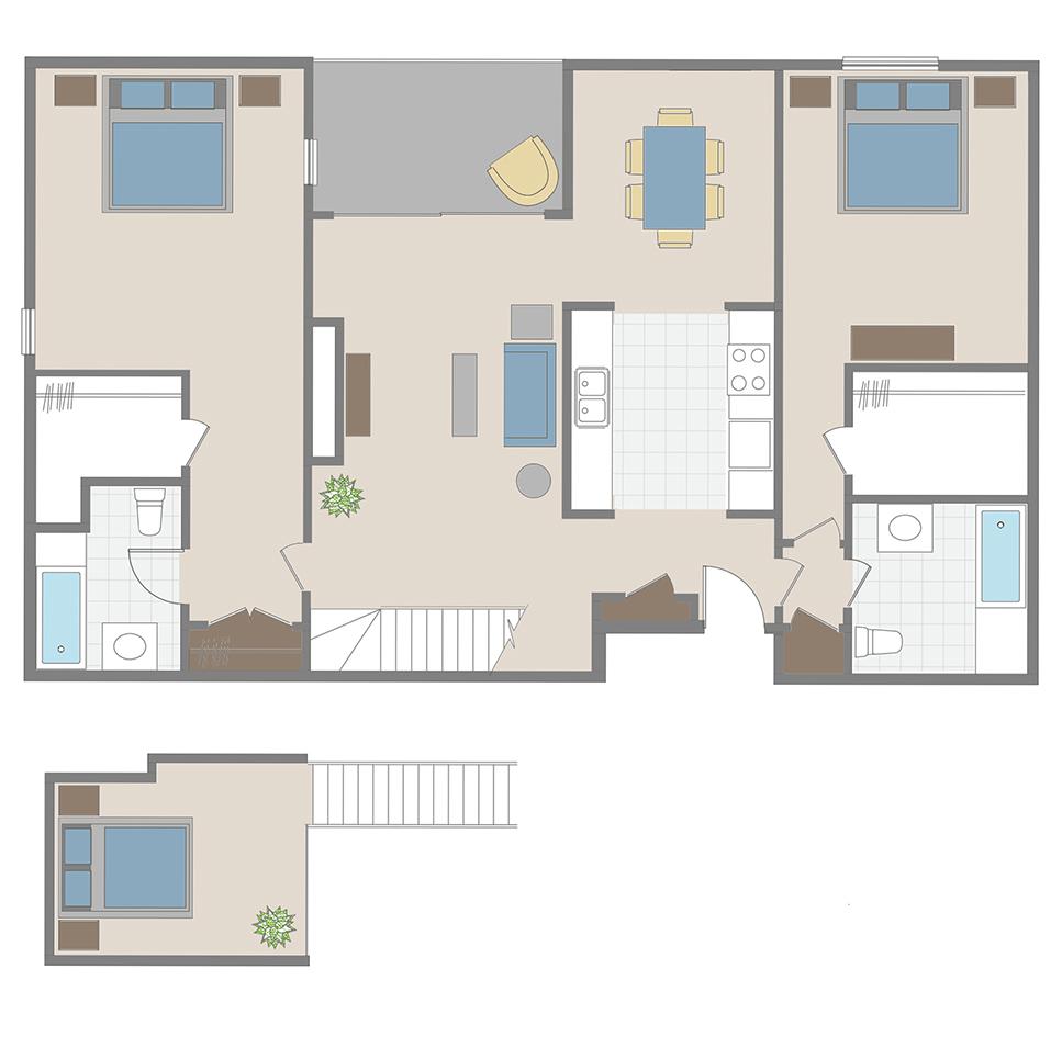 2 Bedroom / 2 Bath + loft apartment floor plan in Brentwood