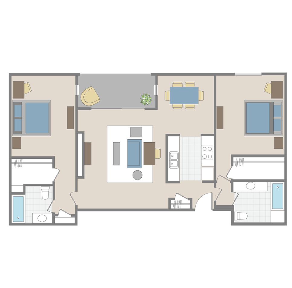 2 Bedroom / 2 Bath apartment floor plan in Brentwood