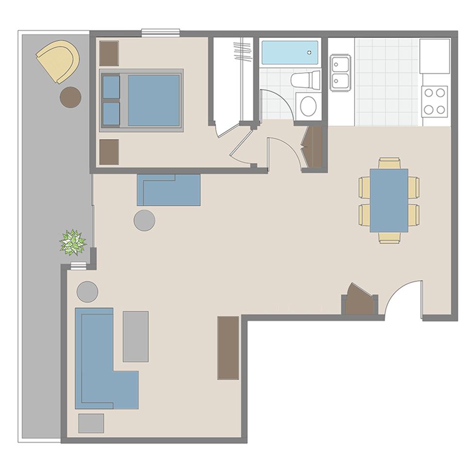 1 Bedroom / 1 Bath apartment floor plan in Brentwood