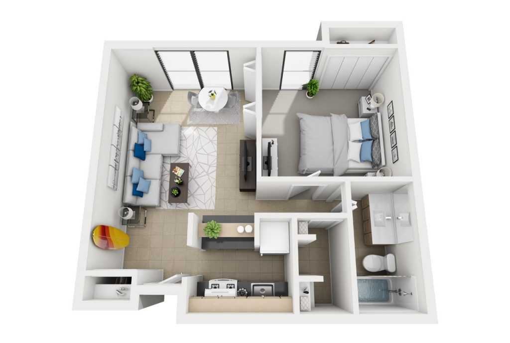 The Eddie - One bedroom apartment floor plan