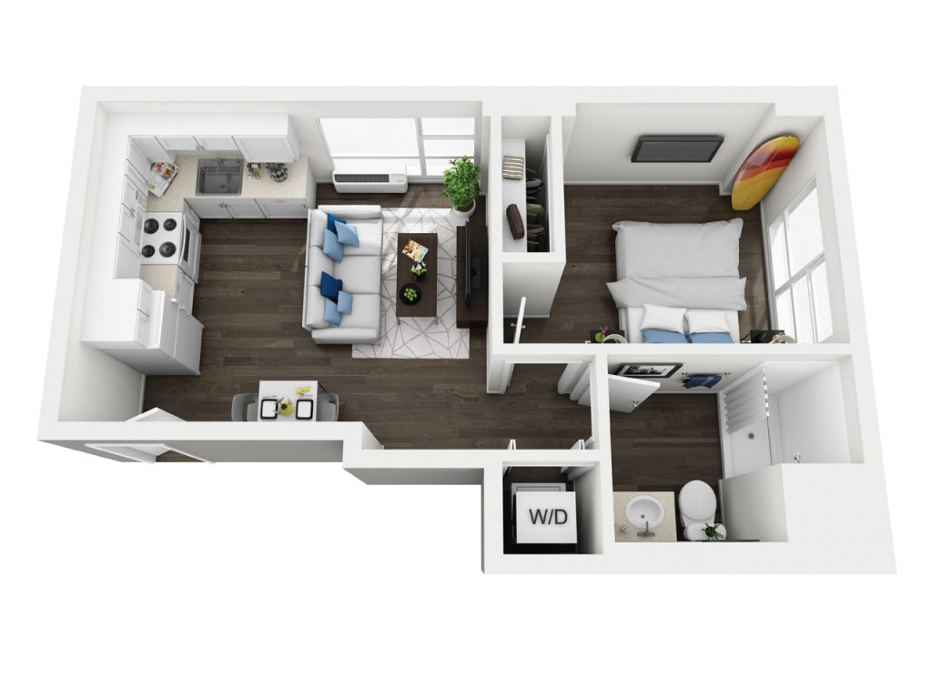 Kauai - One bedroom apartment floor plan