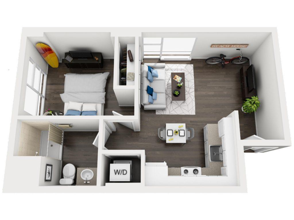 Maui - One bedroom apartment floor plan