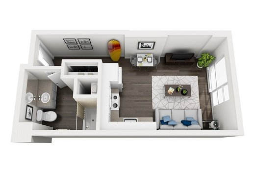 Oahu Studio apartment floor plan
