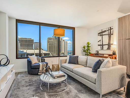 living room at The Residences at Bishop Place